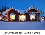 santa claus holiday village... | Shutterstock . vector #675541966