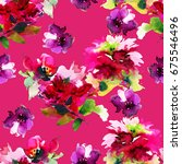 seamless summer pattern with... | Shutterstock . vector #675546496