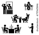 stick figure office poses set.... | Shutterstock .eps vector #675565846
