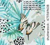 watercolor graphical... | Shutterstock . vector #675569638