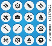 set of 16 editable tool icons.... | Shutterstock .eps vector #675570622