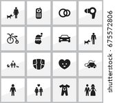 set of 16 editable folks icons. ...