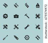 set of 16 editable tool icons.... | Shutterstock .eps vector #675574972