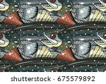 striped bass pattern | Shutterstock .eps vector #675579892