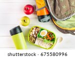 healthy food concept  lunch box ... | Shutterstock . vector #675580996