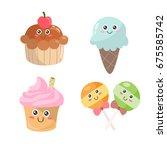 vector dessert items with nice... | Shutterstock .eps vector #675585742