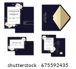 set of navy blue wedding... | Shutterstock .eps vector #675592435