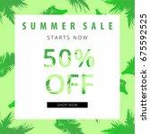 summer sale banner. tropical...   Shutterstock .eps vector #675592525