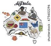 australia travel doodles  map... | Shutterstock .eps vector #675602296