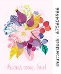 fruity design. bright greeting... | Shutterstock .eps vector #675604966