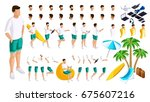 isometric set of gestures of... | Shutterstock .eps vector #675607216