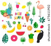 raster set of summer... | Shutterstock . vector #675611902
