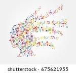 color music notes splash from... | Shutterstock .eps vector #675621955