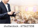 businessman using the mobile... | Shutterstock . vector #675627358