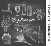creative beer set with icons of ...   Shutterstock .eps vector #675629356