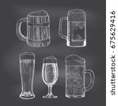 vector set of beer glasses and... | Shutterstock .eps vector #675629416