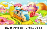 sweet candy land. ice cream... | Shutterstock .eps vector #675639655