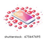 isometric concept with mobile... | Shutterstock .eps vector #675647695