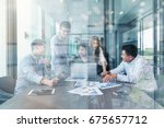 group of asian and multiethnic... | Shutterstock . vector #675657712