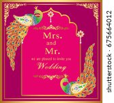 wedding invitation or card with ...   Shutterstock .eps vector #675664012