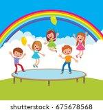 group of happy children jumping ... | Shutterstock .eps vector #675678568