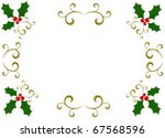 Christmas holly frame - stock vector