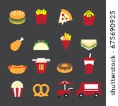 fast food color icons | Shutterstock .eps vector #675690925