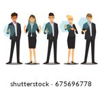 business people working with... | Shutterstock .eps vector #675696778