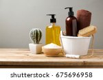 body care products on wooden... | Shutterstock . vector #675696958