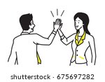 businessman giving high five to ... | Shutterstock .eps vector #675697282