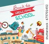back to school flat cartoon... | Shutterstock .eps vector #675701452