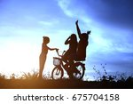 children cycling play in the... | Shutterstock . vector #675704158