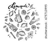 lemonade lettering and hand... | Shutterstock .eps vector #675713995