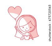 cute wife with shaped heart... | Shutterstock .eps vector #675720565