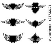 set of emblems with wings... | Shutterstock .eps vector #675722176