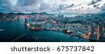 aerial panoramic view of hong... | Shutterstock . vector #675737842