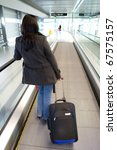 businesswoman with luggage on... | Shutterstock . vector #67575157