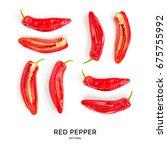 red pepper. vegetables... | Shutterstock . vector #675755992