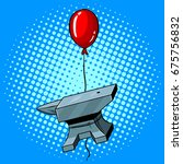 anvil is flying on a balloon... | Shutterstock .eps vector #675756832