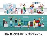 passport control procedure with ... | Shutterstock .eps vector #675762976