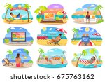 distant work and freelance... | Shutterstock .eps vector #675763162