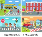 schoolchildren cross road on... | Shutterstock .eps vector #675763195