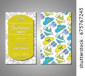 set of stylized summer holidays ... | Shutterstock .eps vector #675767245
