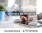 contact us button and text on... | Shutterstock . vector #675769606
