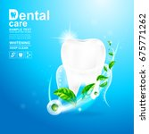 dental care teeth and green tea ... | Shutterstock .eps vector #675771262