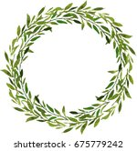 green leaves watercolor wreath... | Shutterstock . vector #675779242
