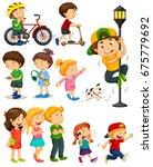 kids doing different activities ... | Shutterstock .eps vector #675779692