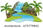 scene with waterfall and river... | Shutterstock .eps vector #675779842