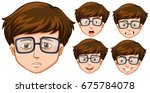 man with five different facial... | Shutterstock .eps vector #675784078