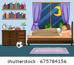 boy sleeping in bedroom at... | Shutterstock .eps vector #675784156